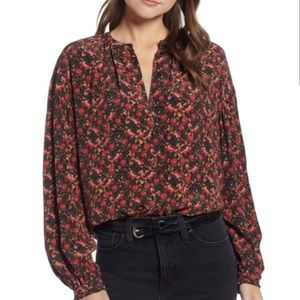 Something Navy red floral easy volume blouse shirt